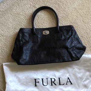 Furla ostrich embossed leather tote